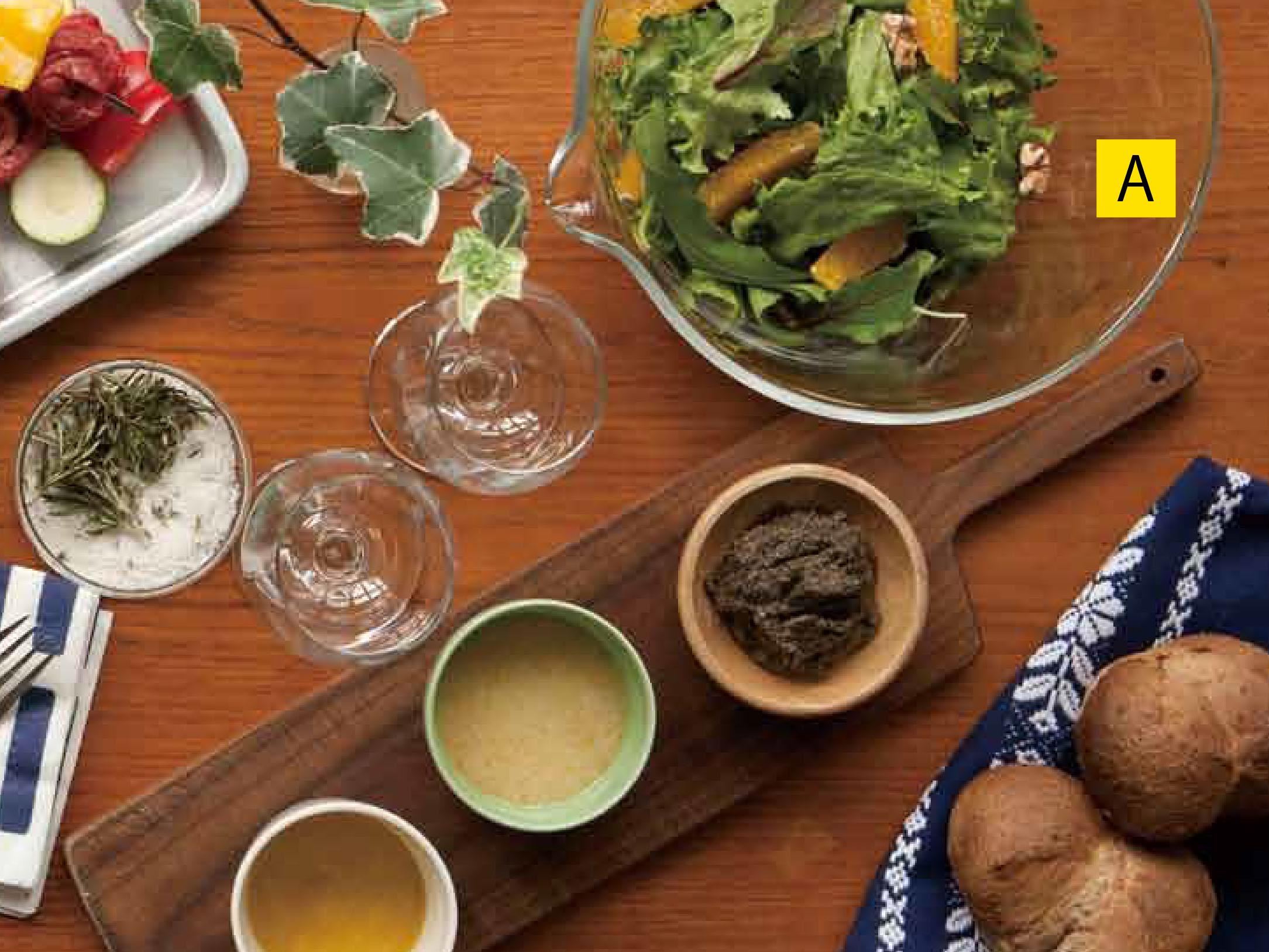 肉とのバランスで、サラダは必須です<A:クルミとオレンジのグリーンサラダ>